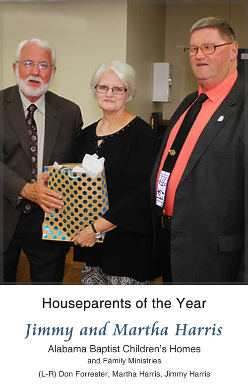 Houseparents of the Year - Jimmy and Martha Harris, Alabama Baptist Children's Homes and Family Ministries